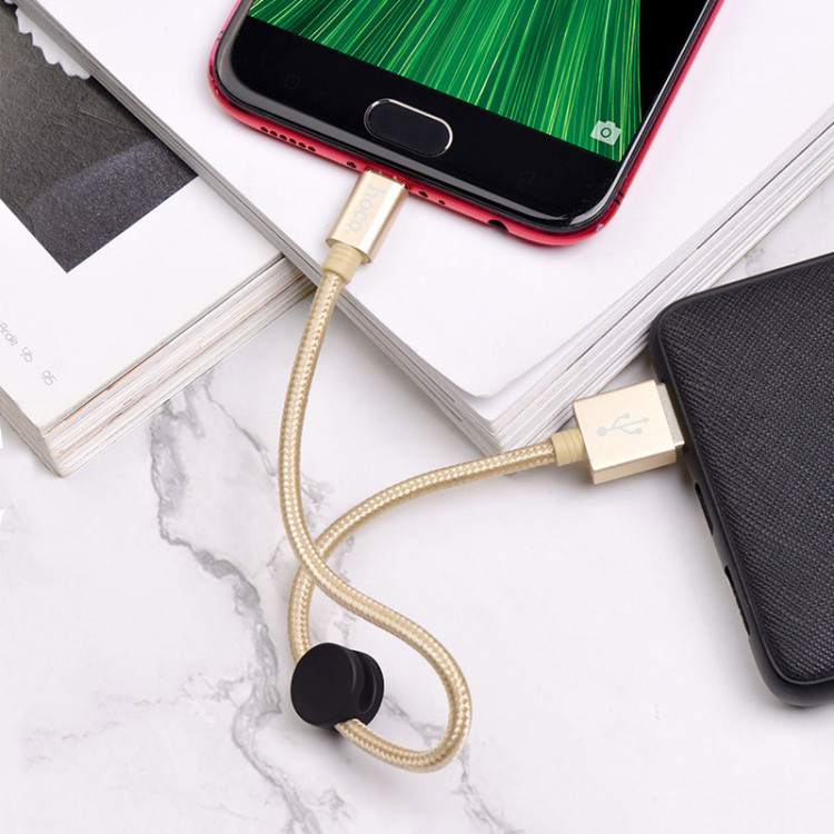 hoco x35 premium charging data cable for micro usb charging gold