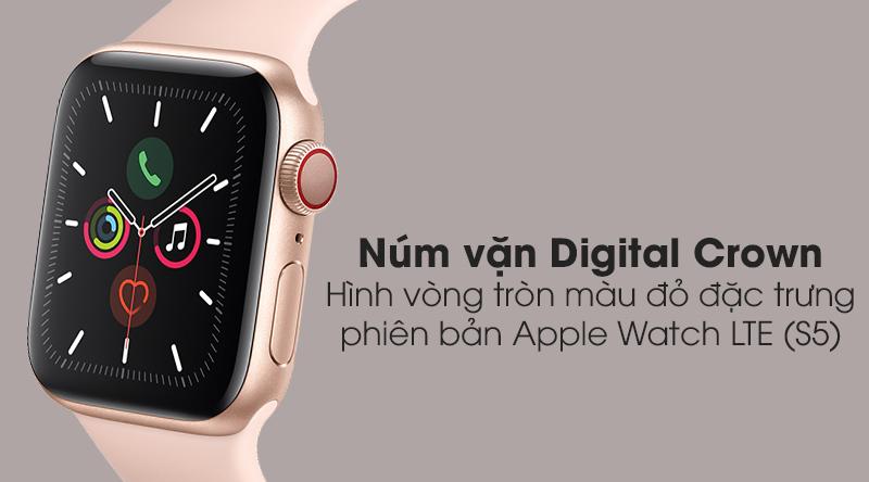 Apple Watch S5 LTE 44mm viền nhôm dây cao su có núm vặn Digital Crown tiện ích